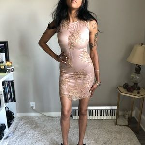 Boston Proper Bandage Cocktail floral Dress Nude s